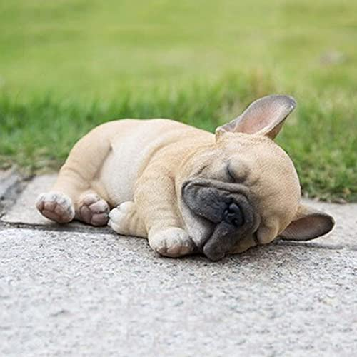 iBaste Sleepy French Bulldog Puppy Statue, Resin Lawn Sculpture Super Cute Garden Yard Decor, Realistic Lifelike Figurine, Sleeping Dog Statues Home Decor, Frenchie Figurine Dog Animal Collectible