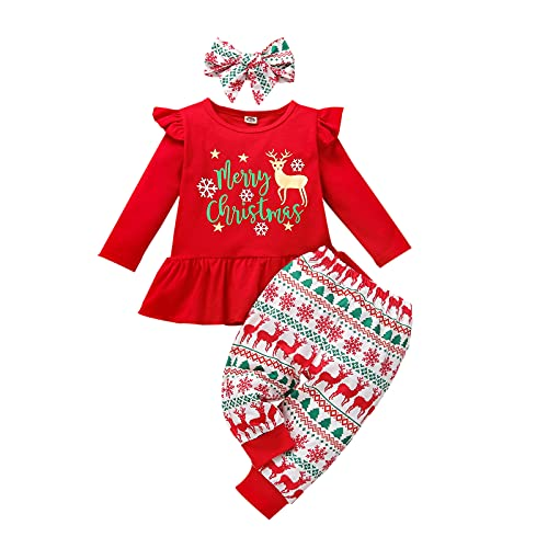 Alunsito Baby Merry Christmas Outfit Girl Ruffle Tunica Top Dress Shirt + Leggings Pantaloni Set di vestiti, 120, Rosso-B, 2-3 anni
