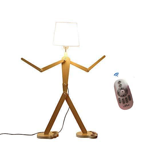 Moderno Estilo nórdico lámpara de pie control remoto creativo Original Madera 1.1 m Formas de decoración de madera humanoide formas ajustables Decoración del hogar Luz Color y brillo ajustables