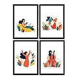 Pack de posters con ilustraciones de mujeres de cada dia. Mujer plantas, mujer con violonchelo. Láminas en tamaño A4