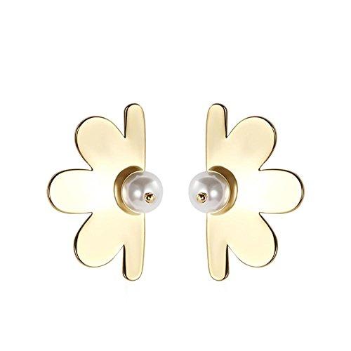Boucles d'oreilles Pétales tridimensionnelles en plaqué or pour femme