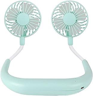 massager Ventilador eléctrico portátil, Ventilador de Cuello Colgante USB, Mini 360 ° Rotación de Color portátil de la luz...