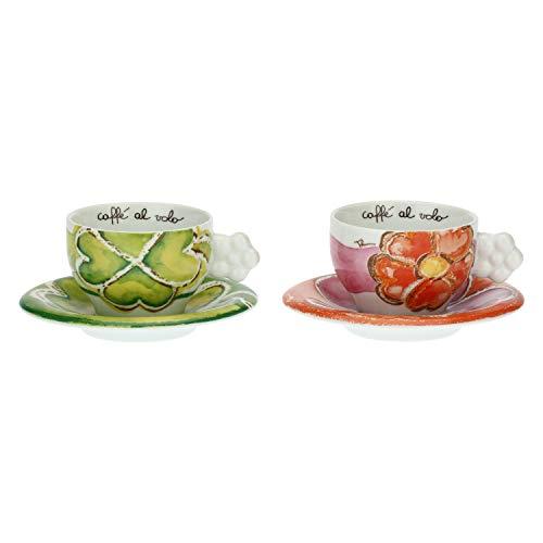 THUN - Set di Tazze Decorate con Fiori - con Piattino - Accessori Cucina - Linea Happy - Porcellana - 200 ml, Ø 8 cm, 6,5 h cm