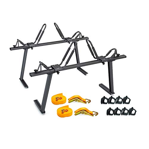 AA-Racks Model APX25 Aluminum Truck Rack with 8 Non-Drilling C-Clamps and 2 Sets Kayak J-Racks with Ratchet Lashing Straps & Ratchet Bow and Stern Tie Down Straps