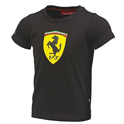 82933b29c Amazon.com : Ferrari Kids Black Shield Tee Shirt : Sports & Outdoors