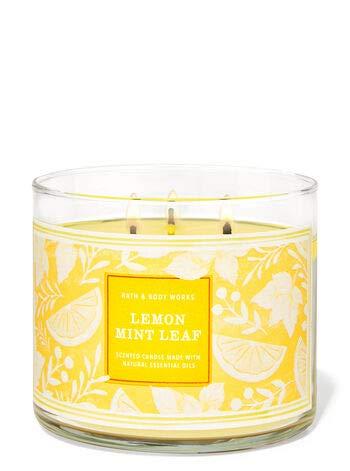 Bath and Body Works, White Barn 3-Wick Candle w/Essential Oils - 14.5 oz - 2021 Fresh Spring Scents! (Lemon Mint Leaf)