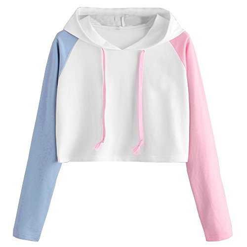 PERFURM Womens Patchwork Long Sleeve Cropped Hoodie Tops Casual Pullover 5XL Teens Fashion Cute Hooded Sweatshirt