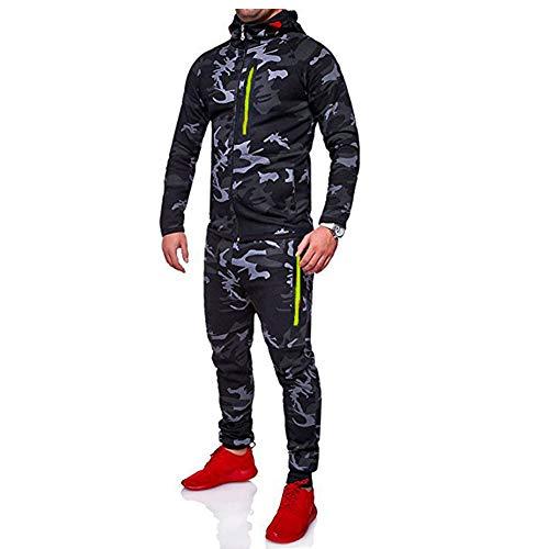 Morbuy Herren Jogging Sweatshirt Hose Anzug Tarnung Trainingsanzug Sweatshirt Hose Sportanzug (L, Tarnung dunkelgrau)