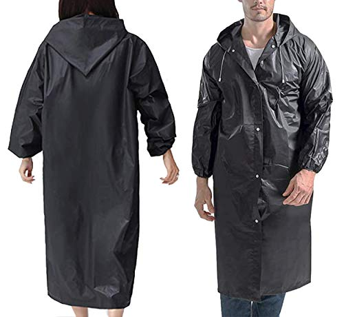 SoTeer Rain Poncho for Adults, 2 Pack Reusable Raincoat Emergency Rain Gear Jacket with Hoods and Sleeves