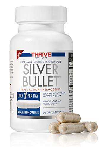Thrive Formulas Silver Bullet Triple Action Thermogenic Fat Burner – 30 Vegetarian Capsules – Only 1 per Day