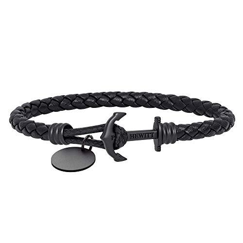 PAUL HEWITT Anker Armband auf einem Gravur PHREP LITE - Segeltau Armband Leder Damen und Herren (Schwarz), individuelle Wunschgravur auf einem Anhänger Schmuck aus IP-Edelstahl (Schwarz) in Größe XXL