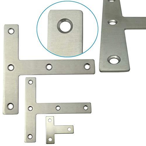 10x Edelstahl Flachverbinder T-Winkel Holzverbinder ideal für Innen- & Außenbereich - Lochplatte in 3 verschiedenen Größen (8 x 8 x 0,1 cm)
