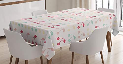 ABAKUHAUS Cerise Nappe, Art Fruit Symmetric été, Linge de Table Rectangulaire pour Salle à Manger Décor de Cuisine, 140 cm x 200 cm, Blanc et Multicolore