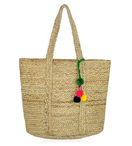 Cotton Craft Jutebeutel mit Bommeln, geflochten, 45,7 x 38,1 x 25,4 cm, naturfarben