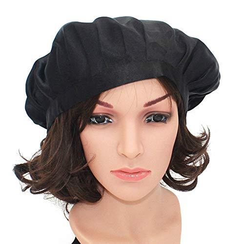 WJH Soie Naturelle de Sommeil Bonnet de Nuit Bonnet Head Couverture pour Beauty Hair Unisexe très élastique Sommeil Chapeau Soie Solide Bonnet Souple Nightcap Cap (2 pcs)