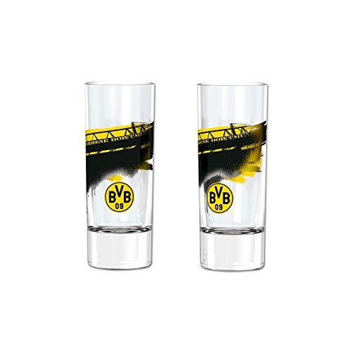 Borussia Dortmund, BVB-Schnapsglas mit Südtribüne (2 Stück), Schwarz / Gelb, 0