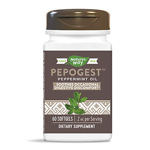 Nature's Way Pepogest Enteric-Coated Peppermint Oil, Gastrointestinal Comfort, 60 Softgels, Pack of 2
