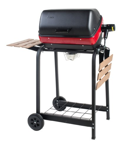 Americana Electric Cart Grill with two folding, composite-wood side tables and wire shelf