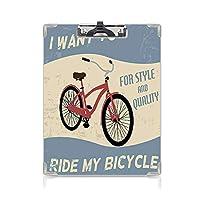 クリップボード 1960年代の装飾 ミニバインダー 自転車に乗ってスタイルと品質のバイクツアーヴィンテージグランジポスタースタイルアート装飾 用箋挟 クロス貼 A4 短辺とじ