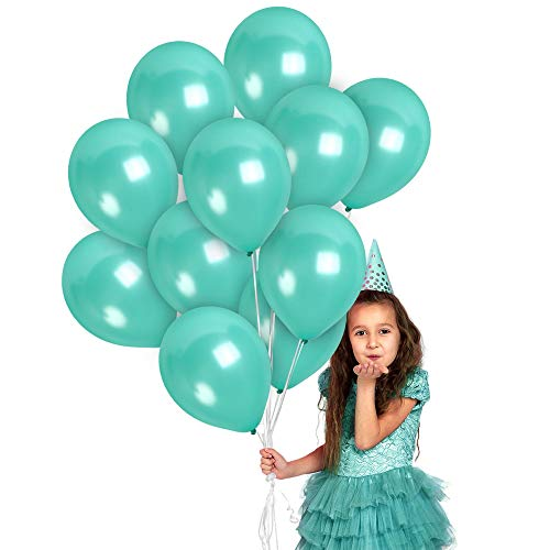 Metallic Blue Teal Balloons 12 Inch - Pearlized Turquoise Balloons - Aqua Balloons 36 Pack - for Mermaid Unicorn Under the Sea Beach Ocean Engagement Nautical Wedding Party Decorations