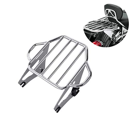 XFMT Detachable Adjustable Motorcycles Chrome Backrest Two Up Tour Pack Mounting Luggage Rack Compatible with Harley Road Glide 2009-2020