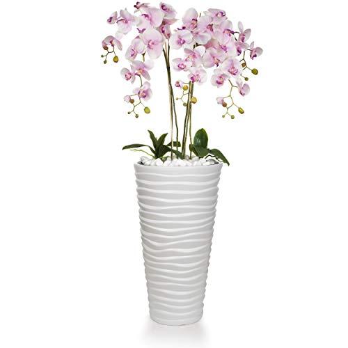 Künstliche Orchideen in großem Übertopf | Gesamthöhe: 120cm | EU Handarbeit | Farbe: Rosa