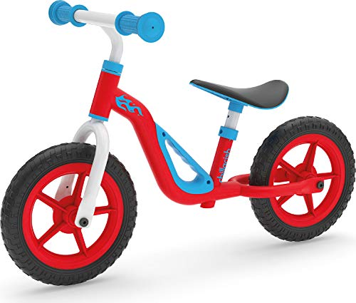 Chillafish Charlie lightweight toddler balance bike with carry handle, cute balance trainer for 18-48 months, learn to bike with 10' inch no-puncture wheels, adjustable seat handlebar Red