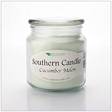 Cucumber Melon 16 oz Decorator Jar Natural Soy Wax Candle