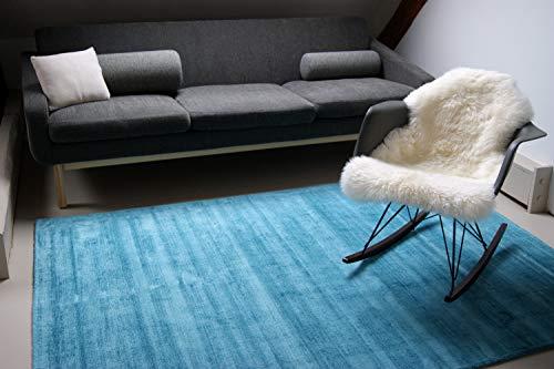 Alfombra Moderna Lounge Azul Turquesa 80x150cm - Alfombra Vintage Sedosa y Noble
