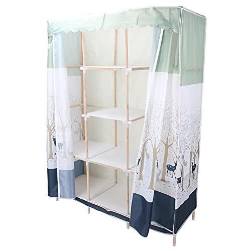Klädgarderob, klädförvaringsskåp trä + plast + tyg + metall Praktiskt icke-vävt dragkedjaöverdrag för förvaring av kläder