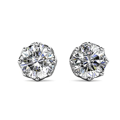 Cate & Chloe Eden Pure 18k White Gold Plated Earrings with Swarovski Crystals, Sparkling Silver Stud Earring Set w/Solitaire Round Diamond Crystals, Beautiful Wedding Anniversary Jewelry (White Gold)