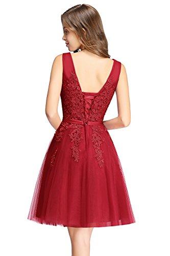 MisShow Fashion Damen V Auusschnitt Kurz Abendkleid Festlichkleid Party Kleider Rot 36