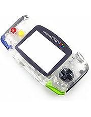 ハウジングシェルケース透明色交換、for Nintendo 任天堂 ニンテンドーゲームボーイアドバンス GBAゲーム機用、付きカラフルなボタン / スクリーンプロテクター / ネジ / ラバーパ ッドフルセットスペアパーツ
