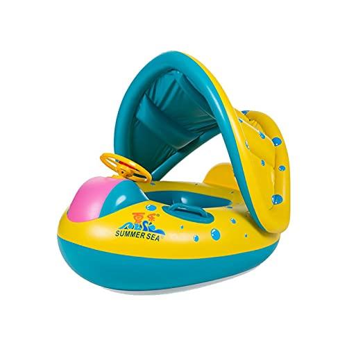Piscina gigante Flotadores Piscina de anillo de natación bebé plegable Piscina flotante Inflatable Bloque de sol Dosel, juguetes de barco de piscina inflable para niños pequeños y niños de 3 a 12 años