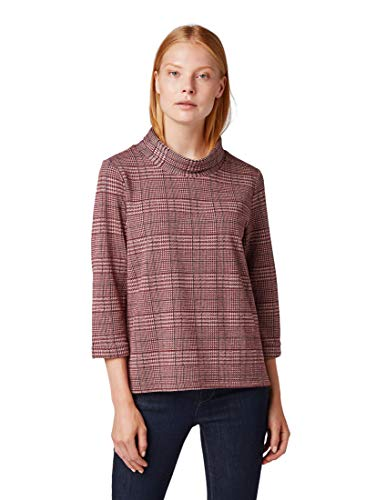 Tom Tailor Kariertes Turtle Neck Felpa, Rosa (Red Rose Navy Glench 19119), Medium Donna