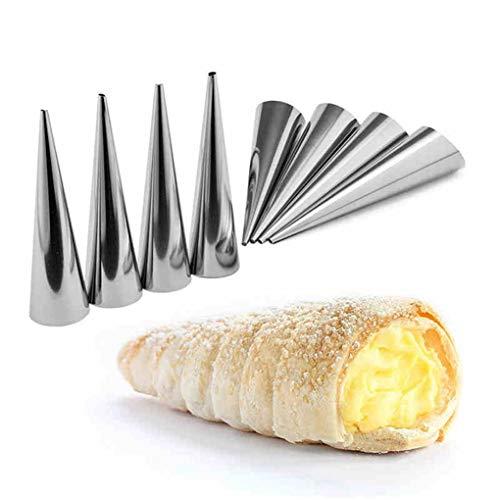 Timlatte 5 / Tubo cónico 12PCS Cono Rollo moldes de Acero Inoxidable Espiral Croissants moldes de repostería Crema Cuerno Cake Pan Molde