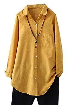 Minibee Women s Cotton Casual Shirts Vertical Stripes Tops Linen Blouse Button Down Tunic Clothing for Women XL Yellow