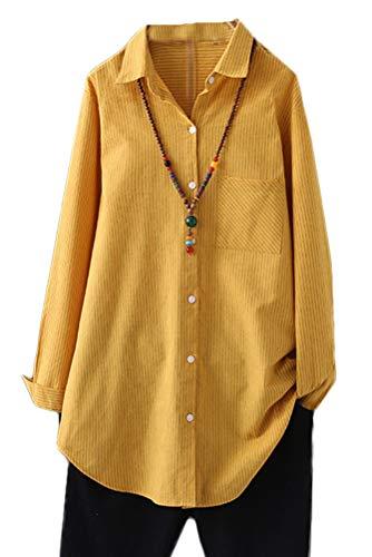 Minibee Women's Cotton Casual Shirts Vertical Stripes Tops Linen Blouse Button Down Tunic Clothing for Women XL Yellow