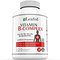 Leafed Vitamin B Complex with 100% RDA of 8 B vitamins (B1, B2, B3, B5, B6, Biotin, B9 and B12), Supports Immune and...