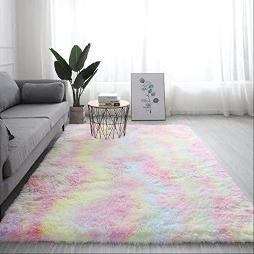 Shaggy Tie-dye Carpet Printed Plush Floor Fluffy Mats Kids Room Faux Fur Area Rug Living Room Mats Silky Rugs 60x120cm Rainbow