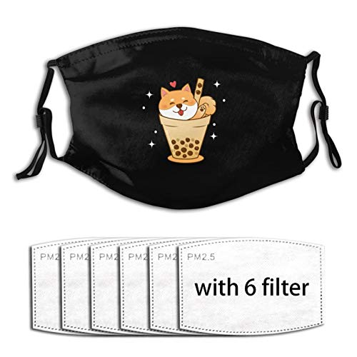 Unisex Reusable Face Mask with Filters Shiba Inu in Bubble Tea Cup Adjustable Earloop Outdoor Sports Masks