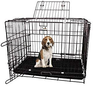 PSK PET MART Black 24-inch Dog Cage for Dog with Removable Tray