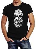 Neverless® Herren T-Shirt Moin Totenkopf Hamburg Skull Print Motiv Bart schwarz XL