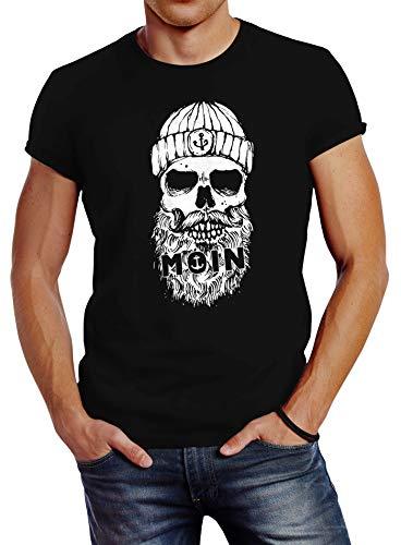 Neverless® Herren T-Shirt Moin Totenkopf Hamburg Skull Print Motiv Bart schwarz 3XL