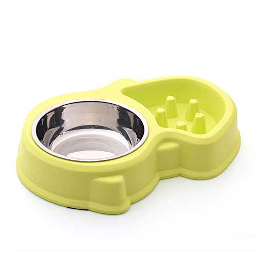 HWL Pet Supplies - Slow eating dog bowl, slow feeder for pets, anti-bloat interactive design, anti-gulping durable 2 in 1 bowl anti-slip mats, ideal for puppies, small/medium sized dogs - Green