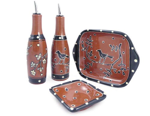 American Made Terra Cotta Pottery Oil and Vinegar Serving Set with 2 Cruets, Dipping Dish, and Serving Tray, Blackbird Motif