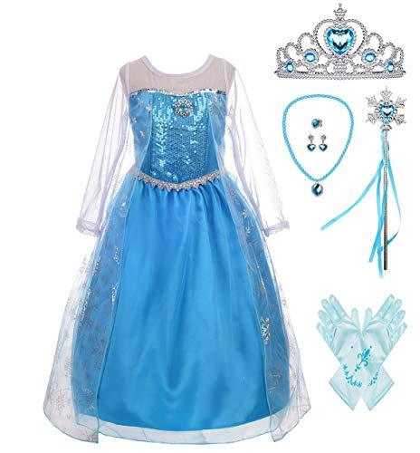 Lito Angels Fantasia de princesa para meninas vestido de rainha da neve fantasia de Natal de Halloween com acessórios, Style C, 2T
