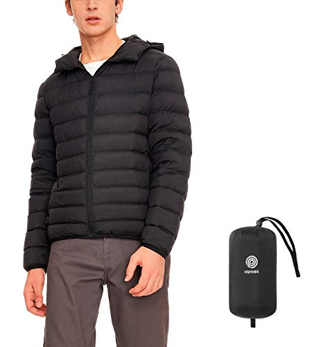 LAPASA Men's Packable Down Jacket Water-Resistant with Zipper Pockets Ultra-Lightweight Hooded Winter Outerwear Duck Down-Filled M54