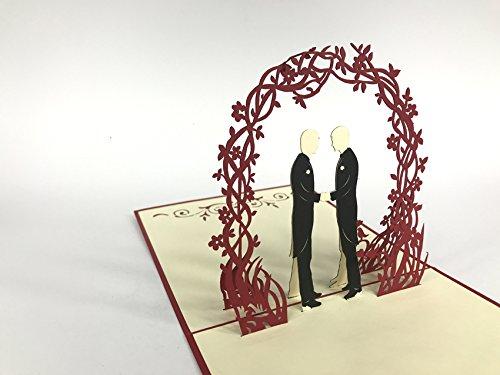 Tarjeta de felicitación de boda para boda, boda, gay, bajo flores, arco rojo, gran tarjeta de boda, deseos de boda, felicitaciones, boda, fiesta, invitación, tarjeta 3D.