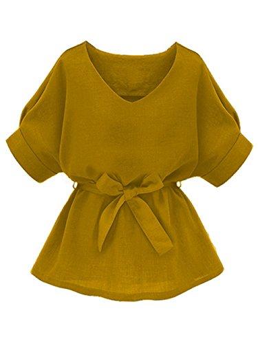 Milumia Women's V Neckline Self Tie Short Sleeve Petite Plus Size Blouse Tunic Tops Yellow-2...